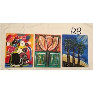 Other - (3) Lot Artwork Oil Painting Canvas One Of A Kind